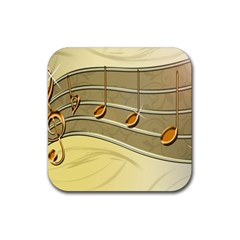 Music Staves Clef Background Image Rubber Coaster (square)