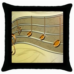 Music Staves Clef Background Image Throw Pillow Case (black)