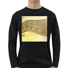 Music Staves Clef Background Image Long Sleeve Dark T Shirts