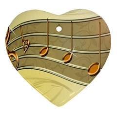 Music Staves Clef Background Image Heart Ornament (two Sides)