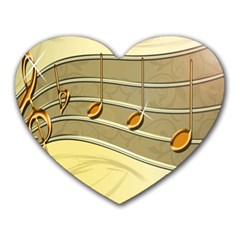 Music Staves Clef Background Image Heart Mousepads