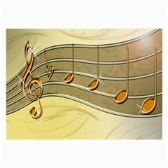 Music Staves Clef Background Image Large Glasses Cloth (2 Side)