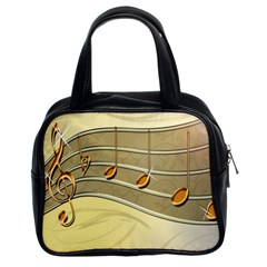 Music Staves Clef Background Image Classic Handbags (2 Sides)