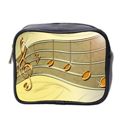 Music Staves Clef Background Image Mini Toiletries Bag 2 Side