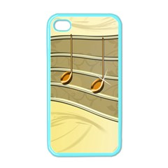 Music Staves Clef Background Image Apple Iphone 4 Case (color)