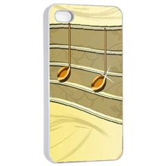 Music Staves Clef Background Image Apple Iphone 4/4s Seamless Case (white)