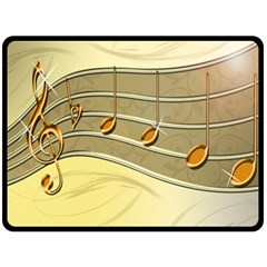 Music Staves Clef Background Image Double Sided Fleece Blanket (large)
