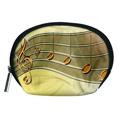 Music Staves Clef Background Image Accessory Pouches (medium)