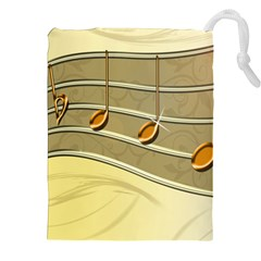 Music Staves Clef Background Image Drawstring Pouches (xxl)