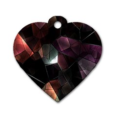 Crystals Background Design Luxury Dog Tag Heart (two Sides)