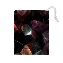 Crystals Background Design Luxury Drawstring Pouches (large)