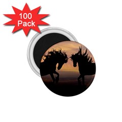 Horses Sunset Photoshop Graphics 1 75  Magnets (100 Pack)