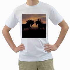 Horses Sunset Photoshop Graphics Men s T Shirt (white) (two Sided)