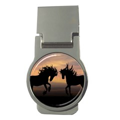 Horses Sunset Photoshop Graphics Money Clips (round)