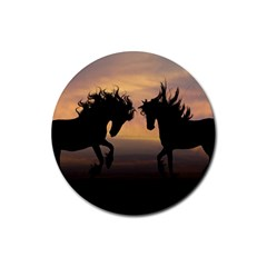 Horses Sunset Photoshop Graphics Rubber Round Coaster (4 Pack)