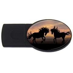 Horses Sunset Photoshop Graphics Usb Flash Drive Oval (2 Gb)