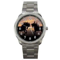 Horses Sunset Photoshop Graphics Sport Metal Watch