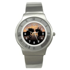 Horses Sunset Photoshop Graphics Stainless Steel Watch