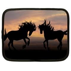 Horses Sunset Photoshop Graphics Netbook Case (xxl)