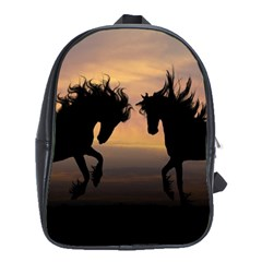 Horses Sunset Photoshop Graphics School Bag (large)