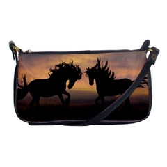 Horses Sunset Photoshop Graphics Shoulder Clutch Bags