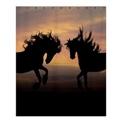 Horses Sunset Photoshop Graphics Shower Curtain 60  X 72  (medium)