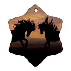 Horses Sunset Photoshop Graphics Snowflake Ornament (two Sides)