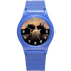 Horses Sunset Photoshop Graphics Round Plastic Sport Watch (s)
