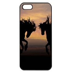 Horses Sunset Photoshop Graphics Apple Iphone 5 Seamless Case (black)