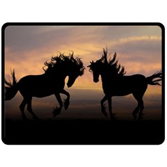Horses Sunset Photoshop Graphics Double Sided Fleece Blanket (large)