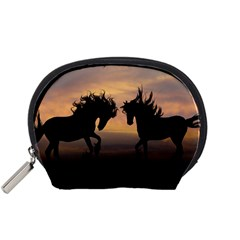 Horses Sunset Photoshop Graphics Accessory Pouches (small)