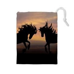 Horses Sunset Photoshop Graphics Drawstring Pouches (large)