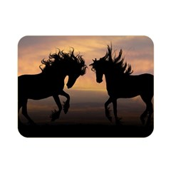 Horses Sunset Photoshop Graphics Double Sided Flano Blanket (mini)