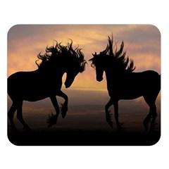 Horses Sunset Photoshop Graphics Double Sided Flano Blanket (large)
