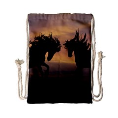 Horses Sunset Photoshop Graphics Drawstring Bag (small)