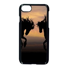 Horses Sunset Photoshop Graphics Apple Iphone 8 Seamless Case (black)