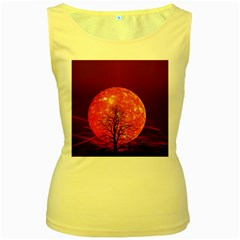 The Background Red Moon Wallpaper Women s Yellow Tank Top