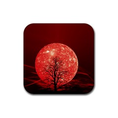 The Background Red Moon Wallpaper Rubber Square Coaster (4 Pack)
