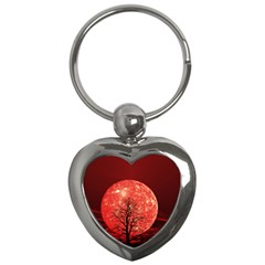 The Background Red Moon Wallpaper Key Chains (heart)