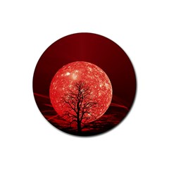 The Background Red Moon Wallpaper Rubber Coaster (round)