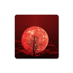 The Background Red Moon Wallpaper Square Magnet