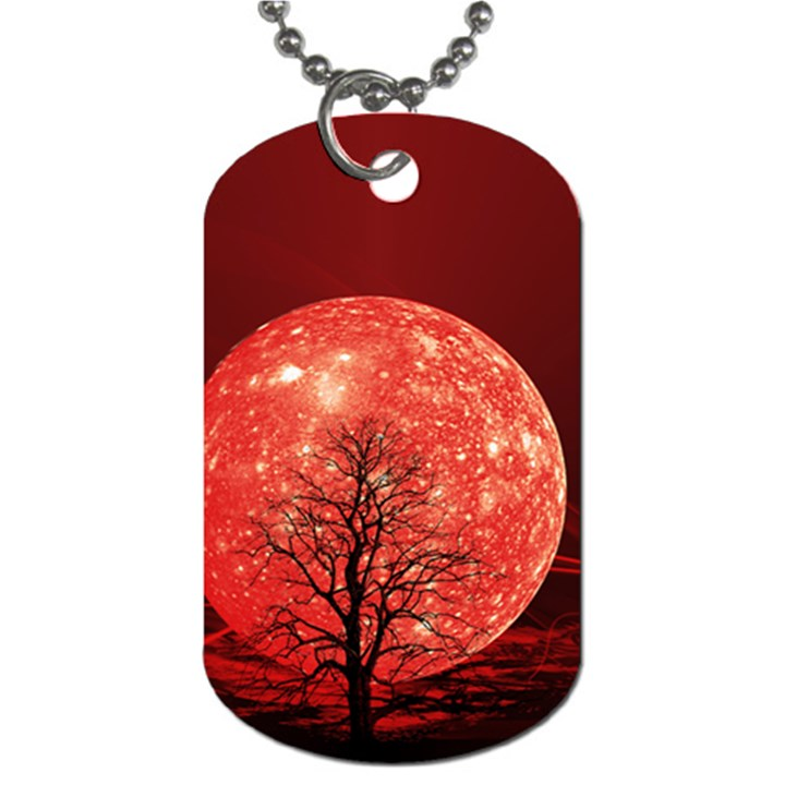 The Background Red Moon Wallpaper Dog Tag (Two Sides)