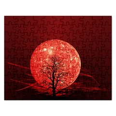 The Background Red Moon Wallpaper Rectangular Jigsaw Puzzl