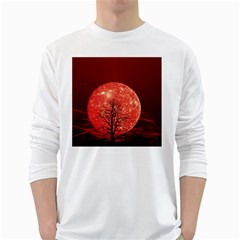 The Background Red Moon Wallpaper White Long Sleeve T Shirts