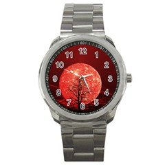 The Background Red Moon Wallpaper Sport Metal Watch