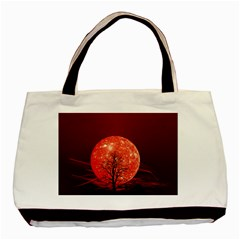 The Background Red Moon Wallpaper Basic Tote Bag