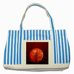 The Background Red Moon Wallpaper Striped Blue Tote Bag