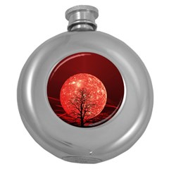 The Background Red Moon Wallpaper Round Hip Flask (5 Oz)