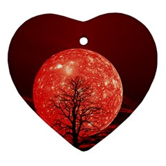 The Background Red Moon Wallpaper Heart Ornament (two Sides)