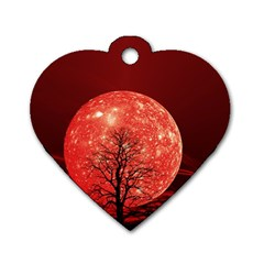 The Background Red Moon Wallpaper Dog Tag Heart (two Sides)